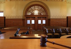 Empty court room after delayed trial