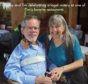 Penny and Tim celebrating a legal victory at one of Tim's favorite restaurants