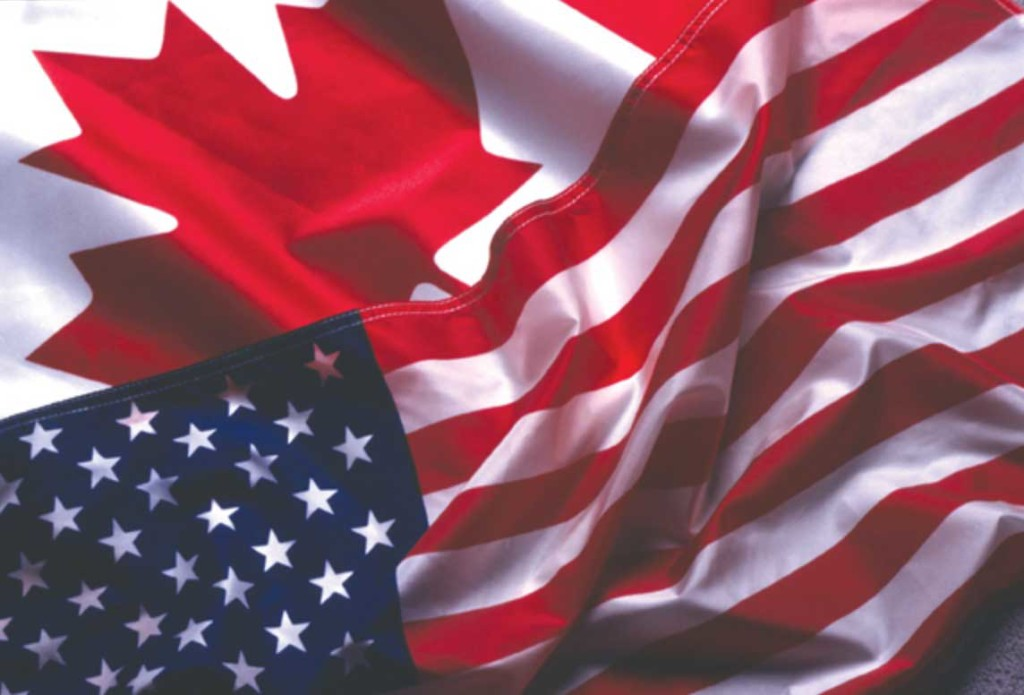 united states and canadian flags